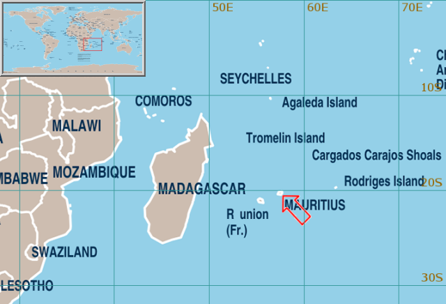 World Weather Information Service Mauritius - Mauritius map in world map